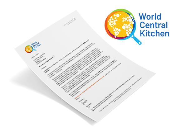 World Central Kitchen Donation Letter