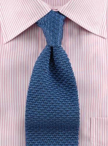 Classic Silk Knit Tie in Slate Blue
