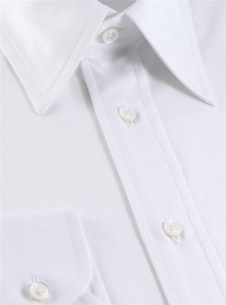 Classic White Twill Straight Collar