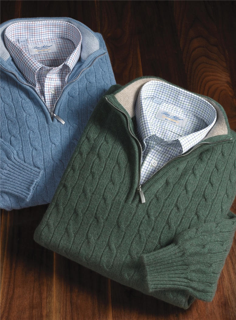 Cashmere Half-Zip Cable Knit Sweaters