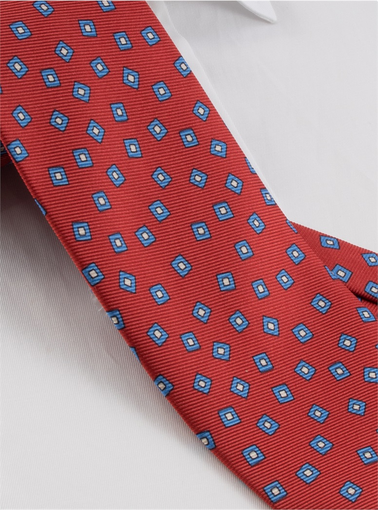 Silk Printed Tossed Squares Tie in Ruby