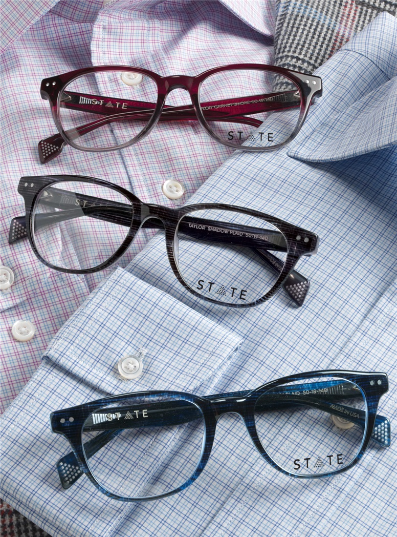 Taylor Rounded Brow Semi-Square Frame in Shadow Plaid