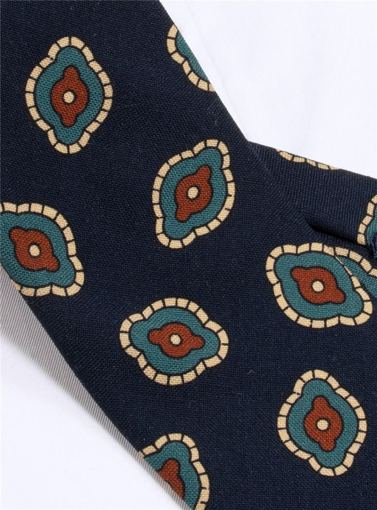 Wool Printed Tie in Navy Blue