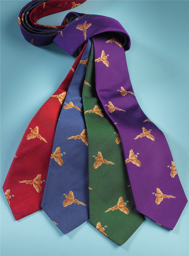 Silk Woven Pheasant Tie in Forest