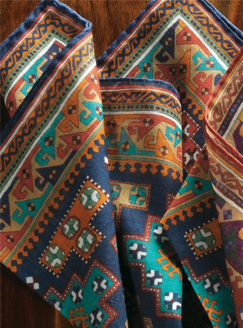 Wool and Silk Motif Printed Pocket Squares