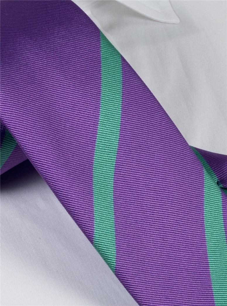 Silk Bar Stripe Tie in Violet with Mint