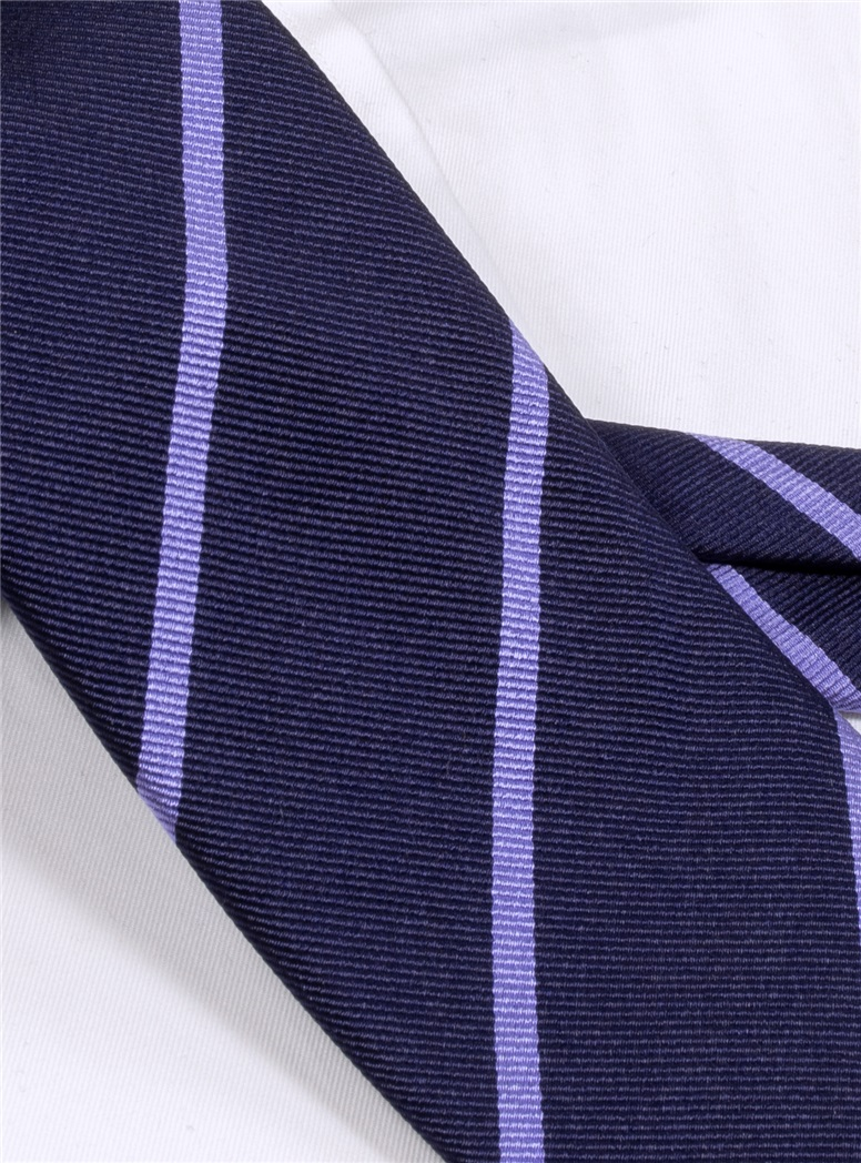 Silk Bar Striped Tie in Navy with Lavender