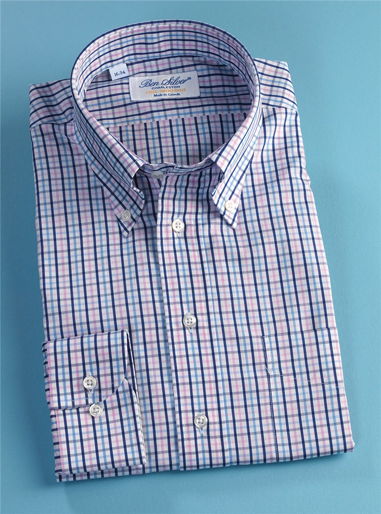 Navy, Blue, and Pink Tattersall Button Down