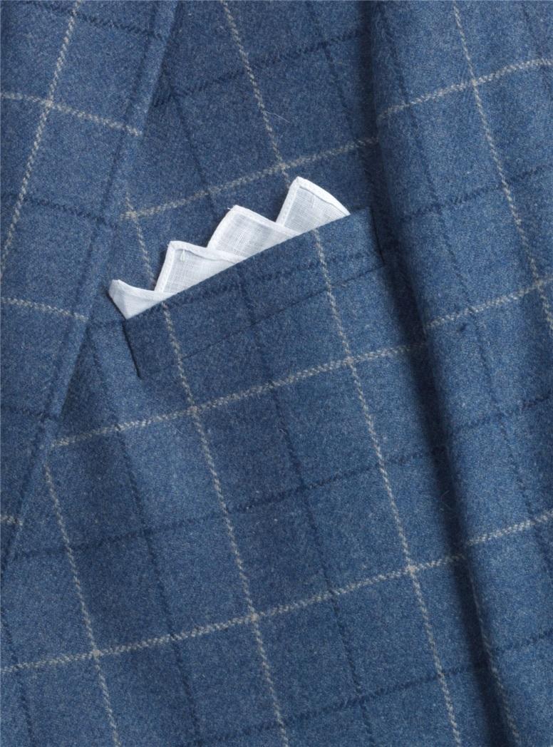 Blue Herringbone with Windowpane