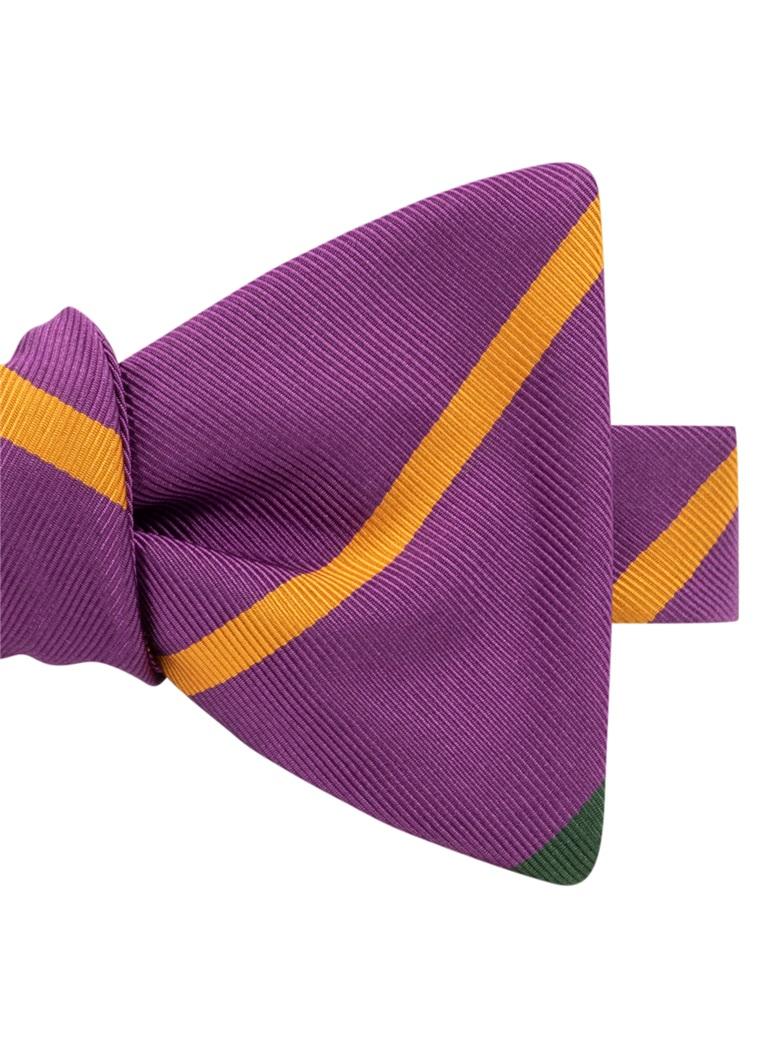 Mogador Double Bar Striped Bow Tie in Magneta