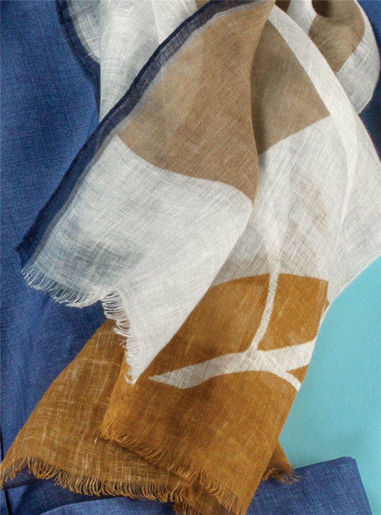 Linen Palm Print Scarf in Navy & Amber