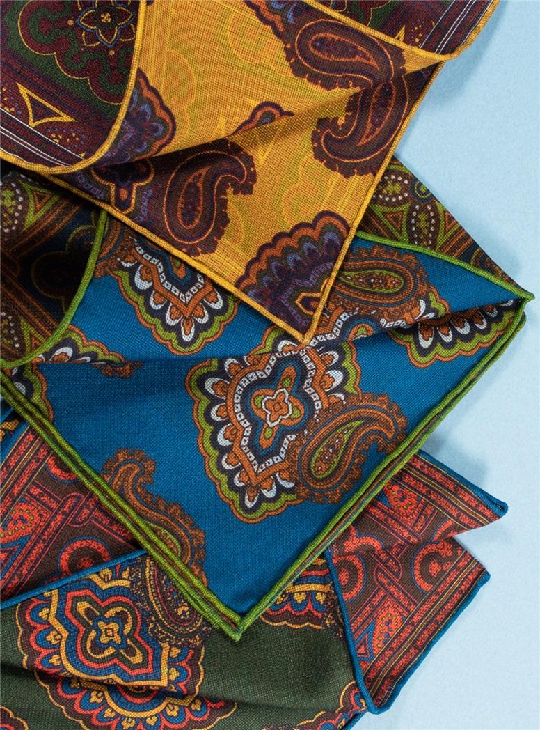 Silk Reversible Medallion Printed Pocket Squares