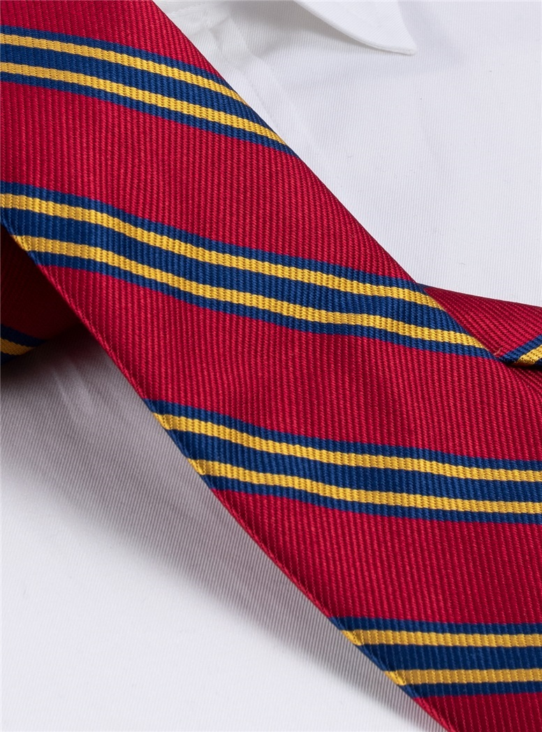 Striped Tie in Red, Navy, and Gold Long