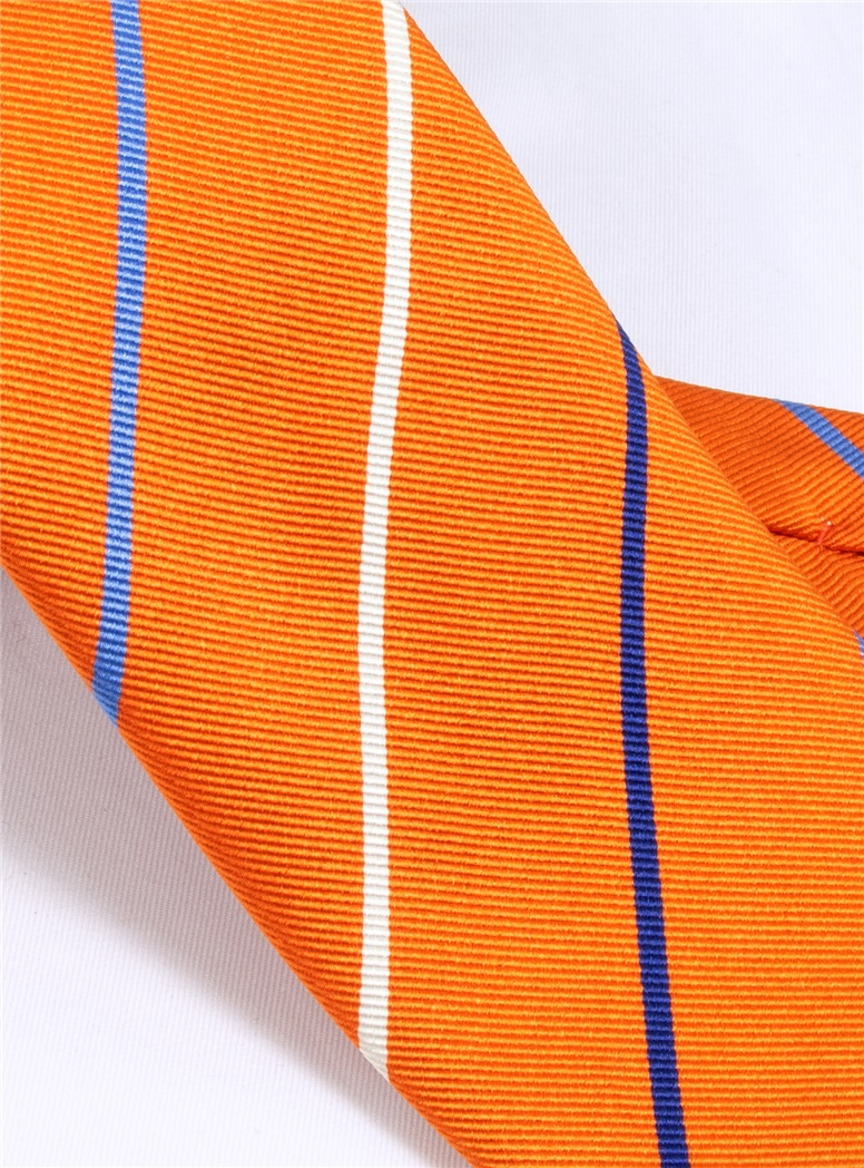 Silk Triple Stripe Tie in Tangerine