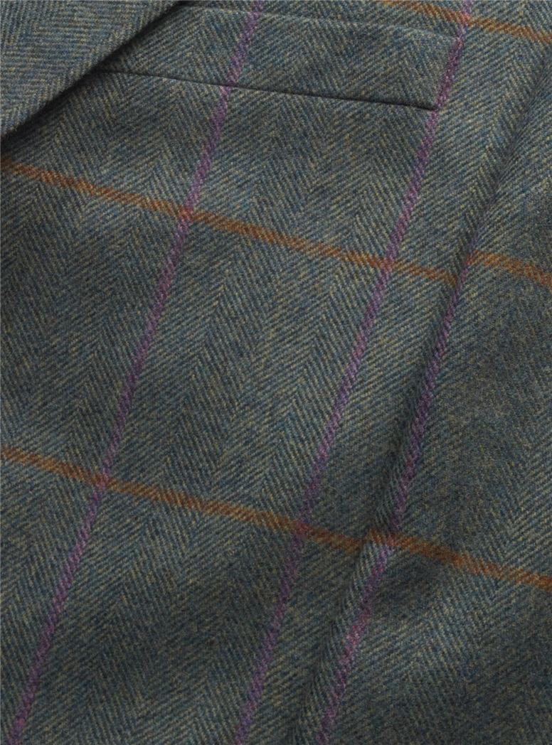 Blue Green Herringbone with Sienna & Purple Windowpane