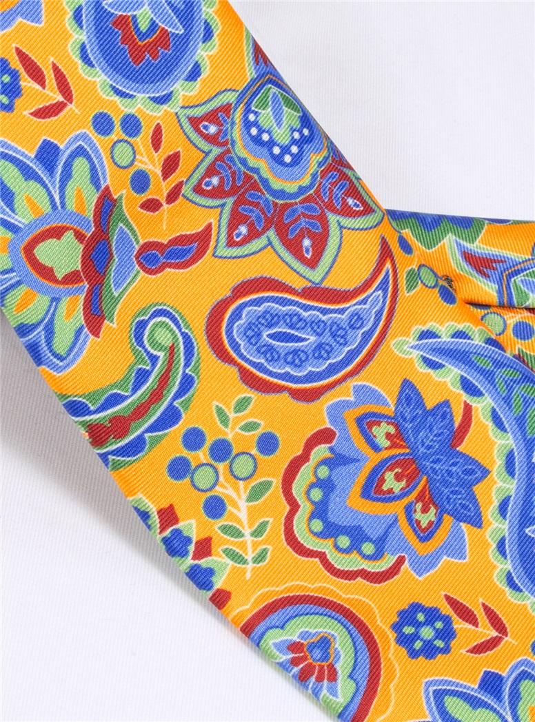 Floral Paisley Tie in Marigold