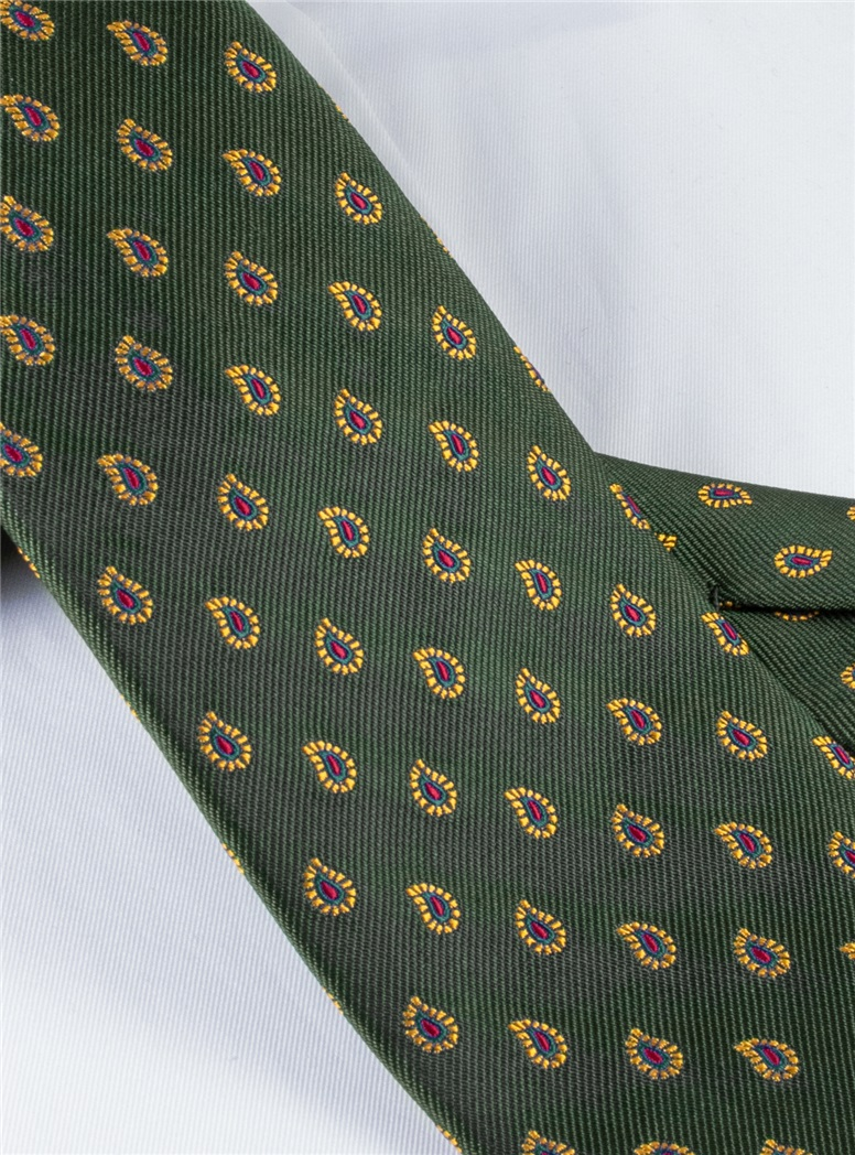 Silk Woven Paisley Tie in Hunter Green