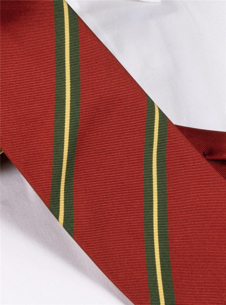 Mogador Silk Striped Tie in Cranberry