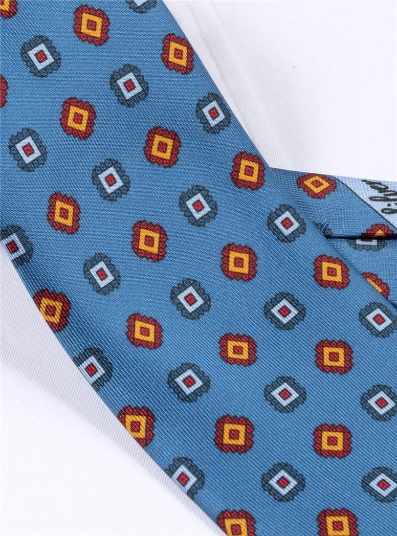 Silk Printed Square Motif Tie in Azure