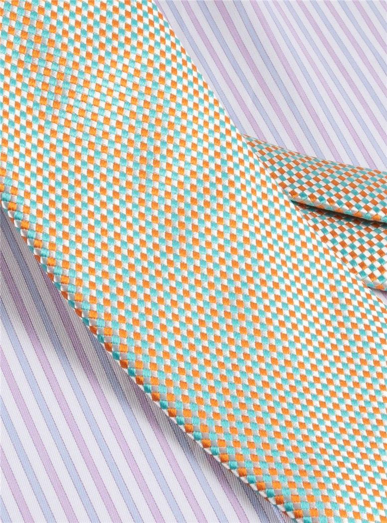 Silk Basketweave Tie in Aqua and Tangerine