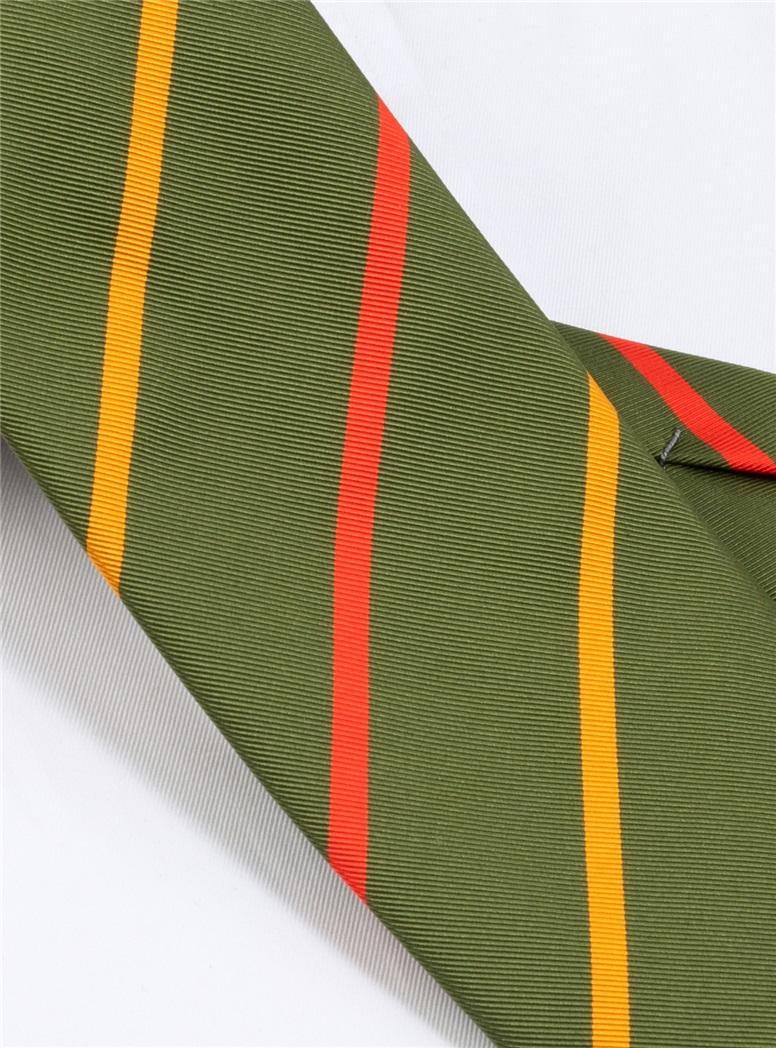 Mogador Double Bar Striped Tie in Fern