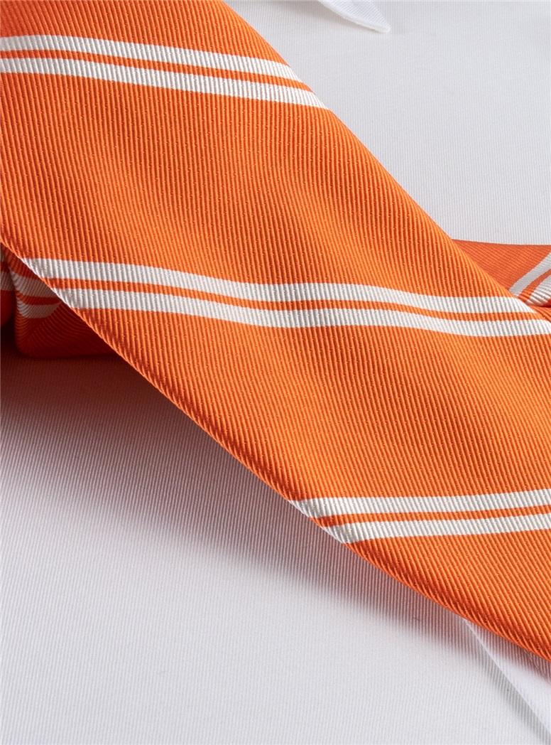 Mogador Silk Double Bar Stripe Tie in Tangerine