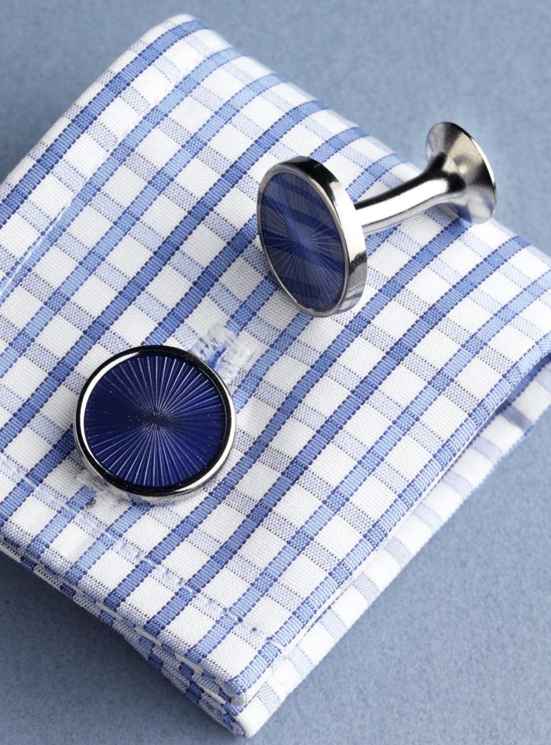Round Fan Design Cufflinks in Blue