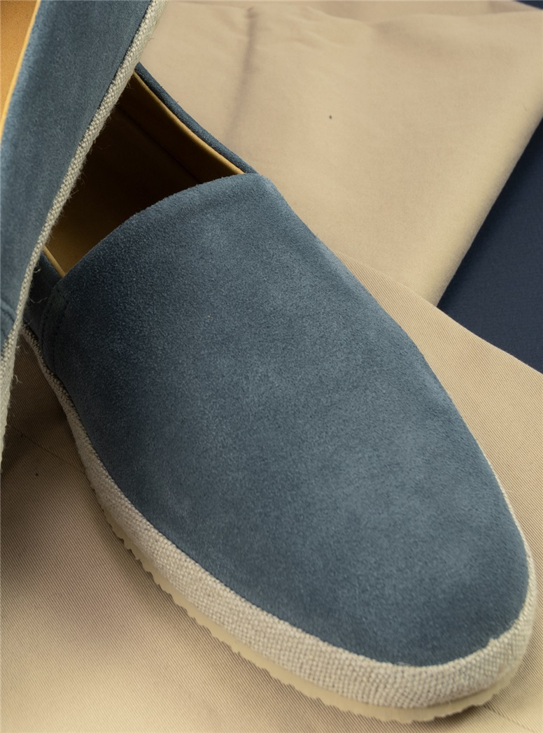 Suede Espadrilles in Dusty Blue, Size 44