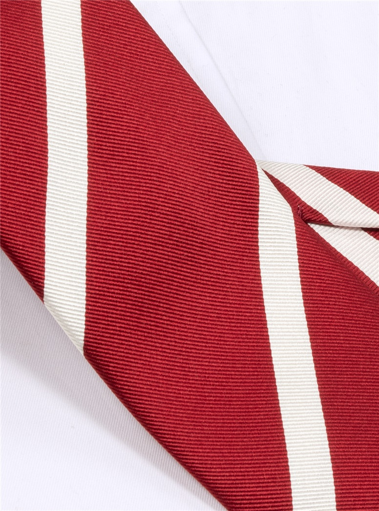 Mogador Bar Striped Tie in Red