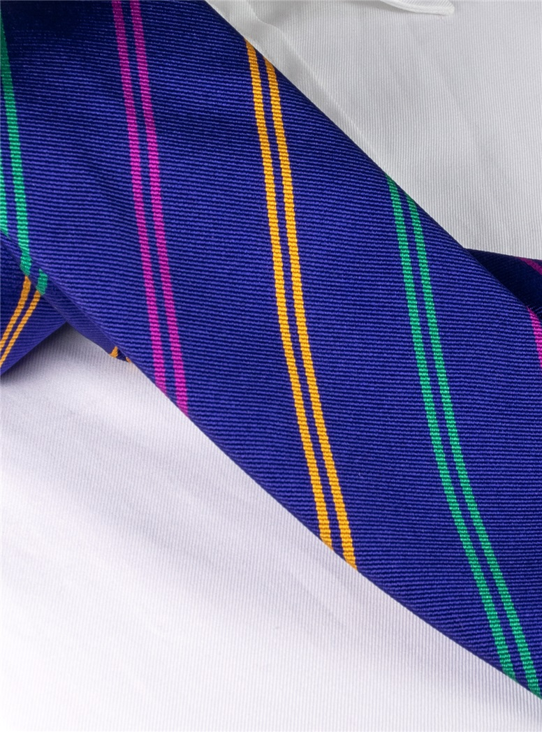 Silk Double Stripe Tie in Indigo