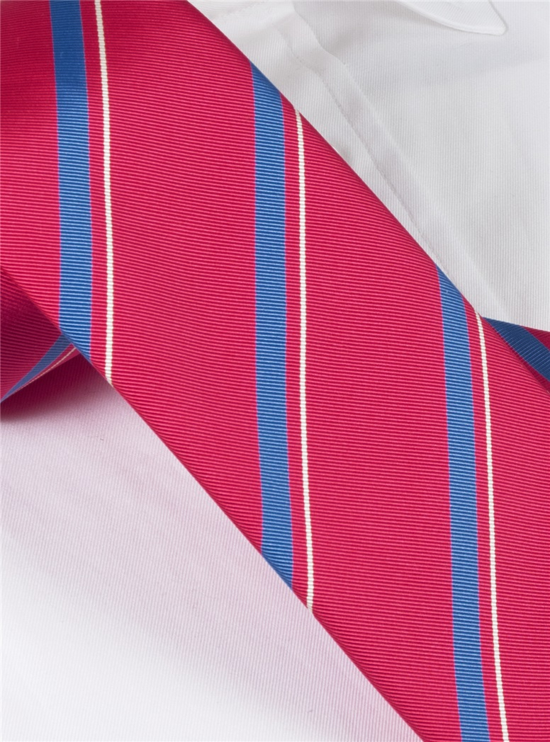 Mogador Silk Striped Tie in Magenta
