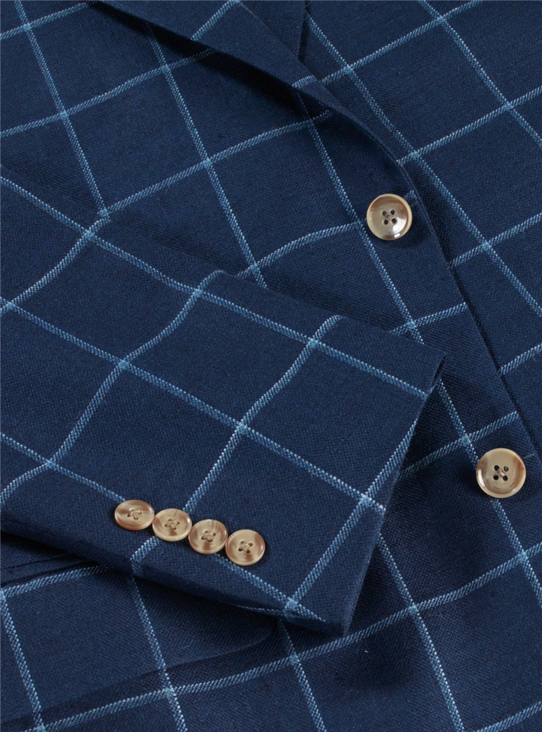 Navy Blue with Blue Chalk Windowpane Sport Coat