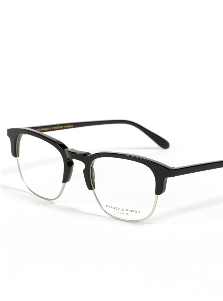 Traditional Brow Frame in Black with Silver Rim