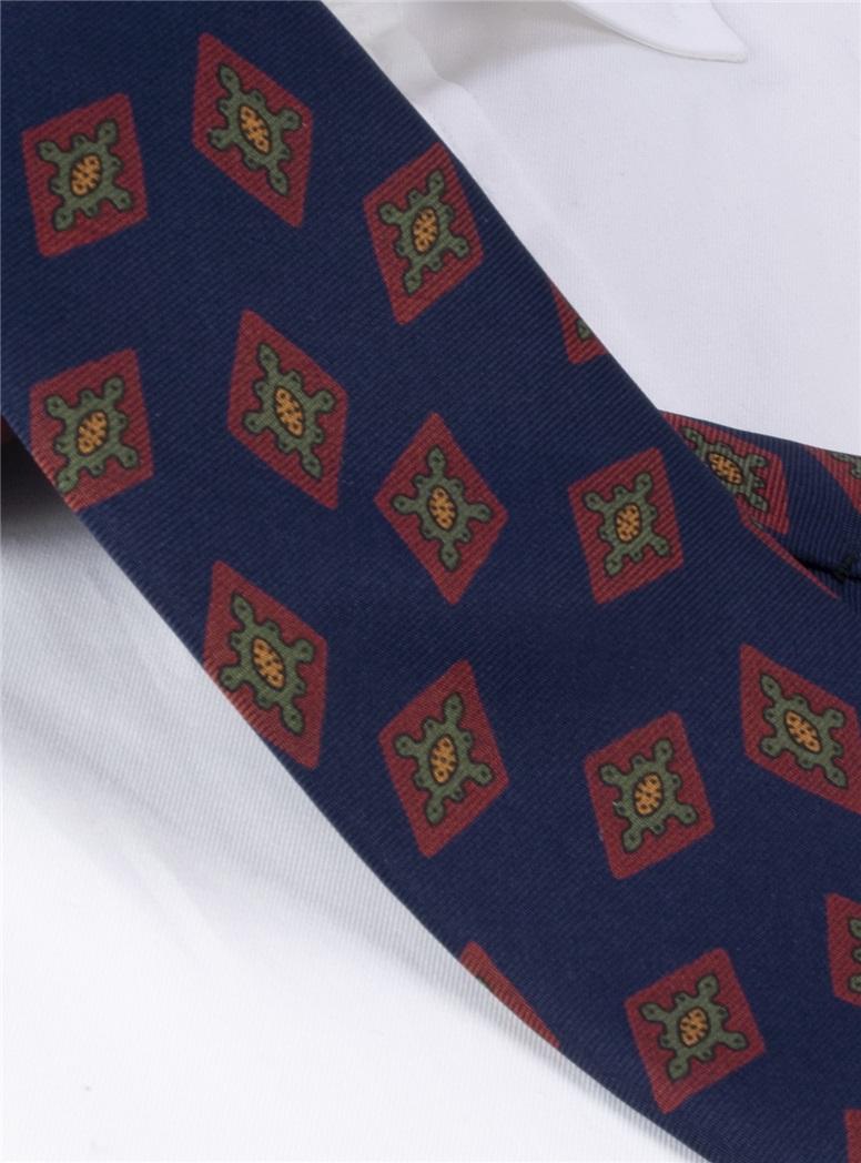 Silk Printed Diamond Motif Tie in Navy