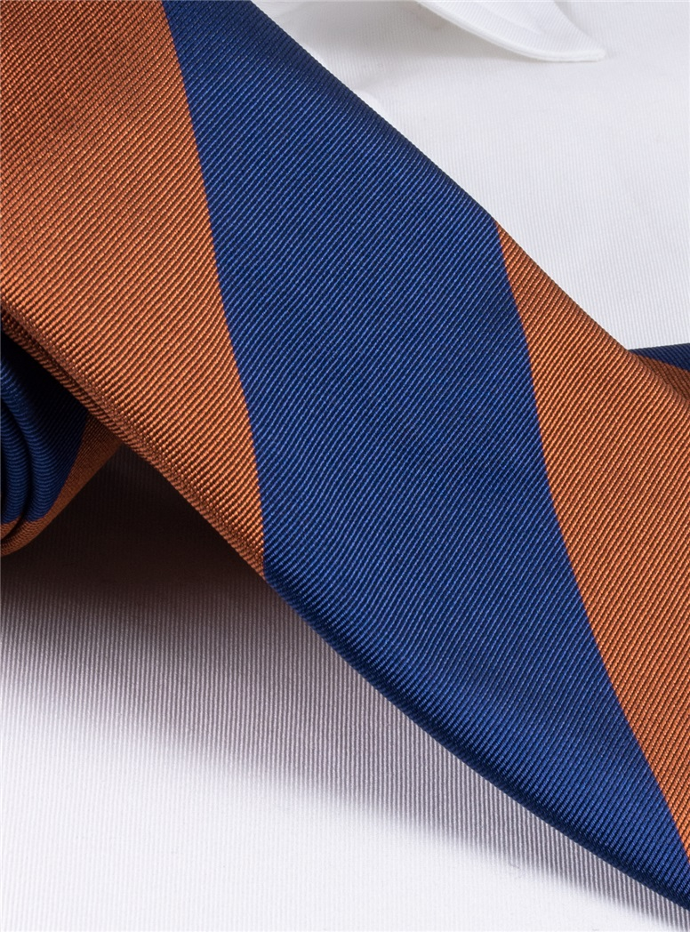 Silk Block Stripe Tie in Spice