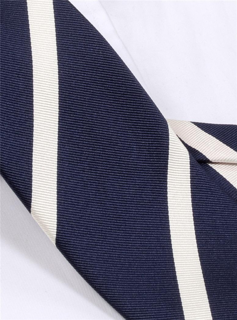 Mogador Bar Striped Tie in Navy
