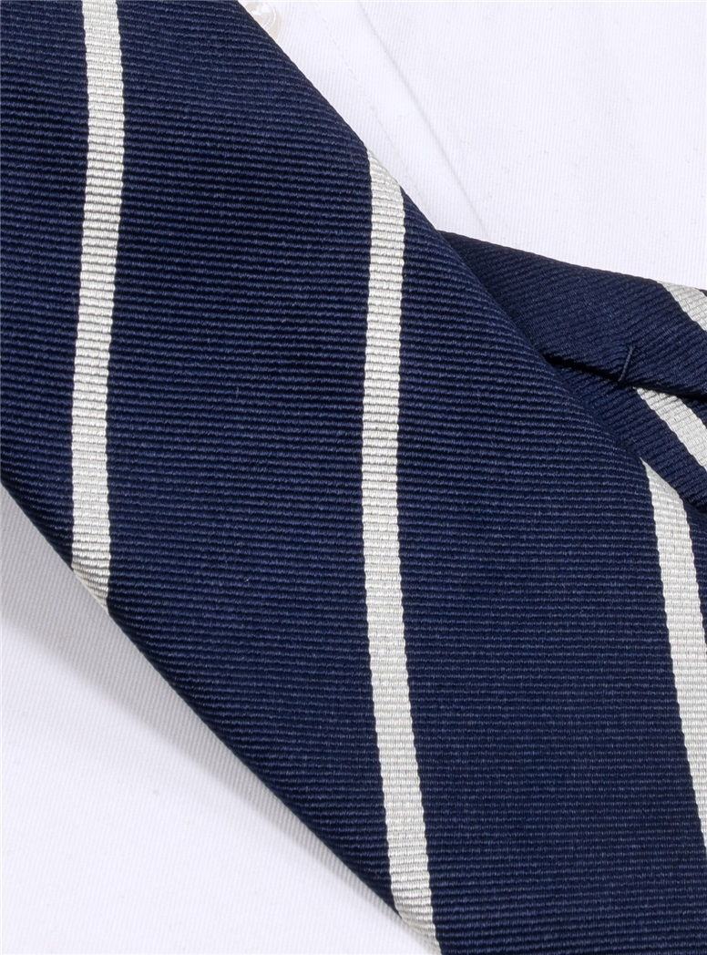 Silk Bar Striped Tie in Navy Blue with White