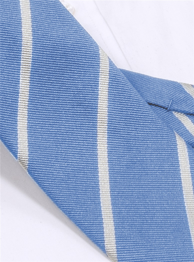 Silk Bar Striped Tie in Blue with Silver