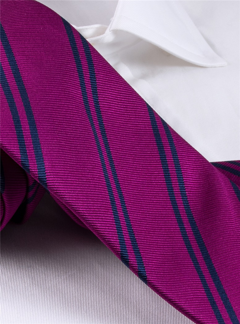 Silk Double Bar Stripe Tie in Magenta