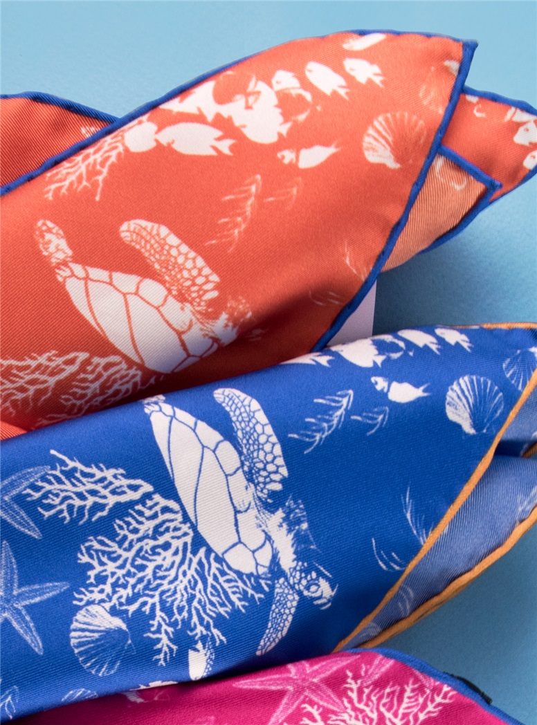 Silk Sea Turtle Pocket Squares