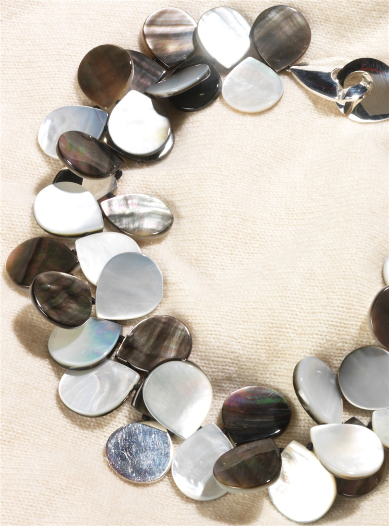 Grey Mother of Pearl Petals Necklace