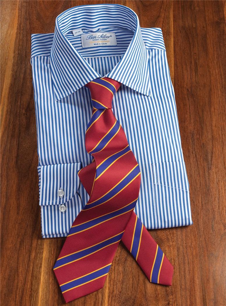 Silk Printed Stripe Tie in Claret