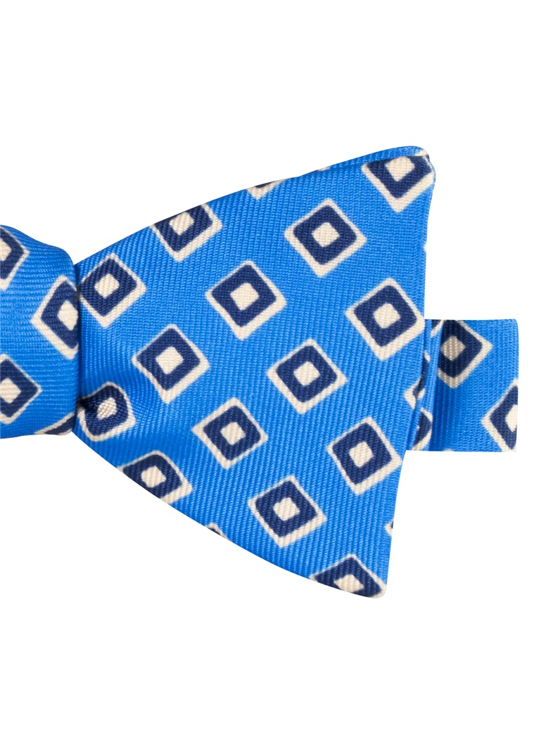 Silk Print Diamond Motif Bow Tie in Cobalt
