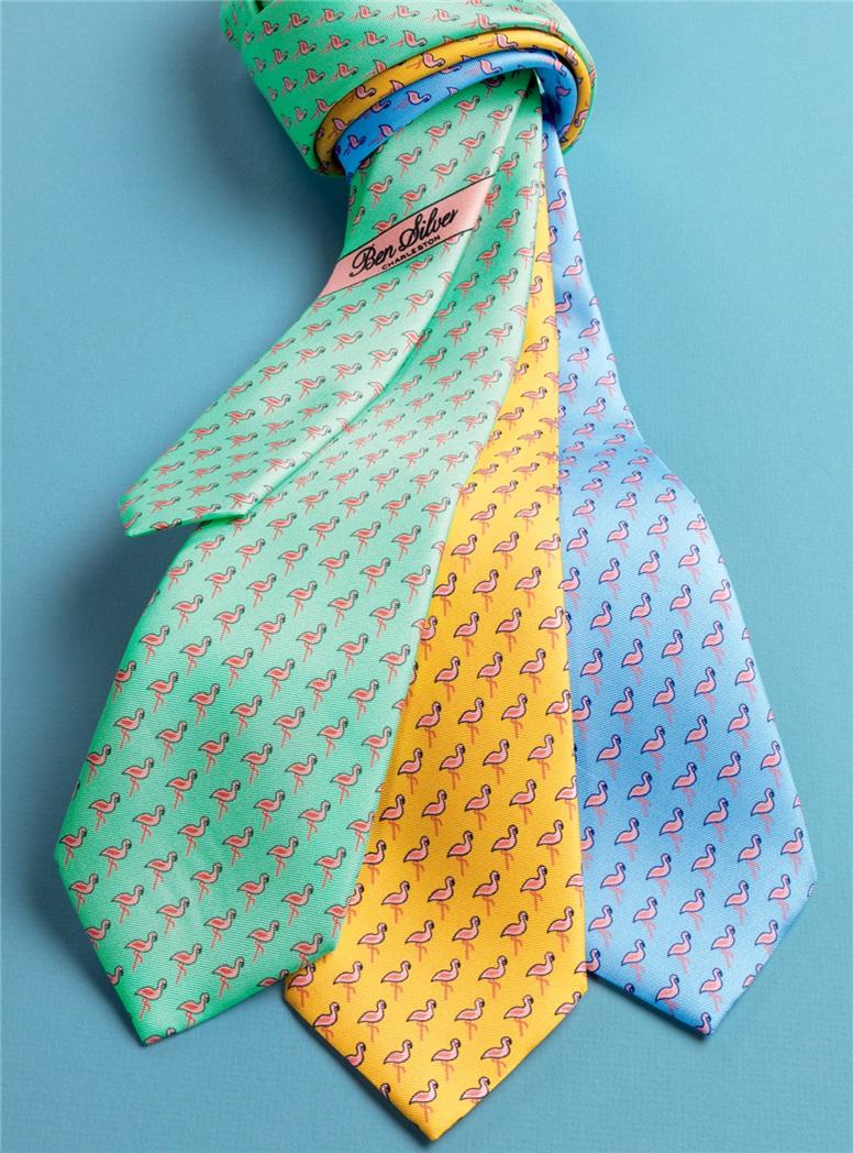 Flamingo Printed Tie in Marigold