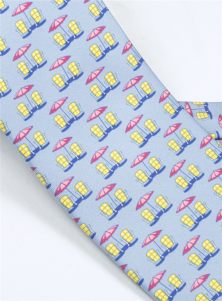 Beach Chair and Umbrella Printed Tie in Sky