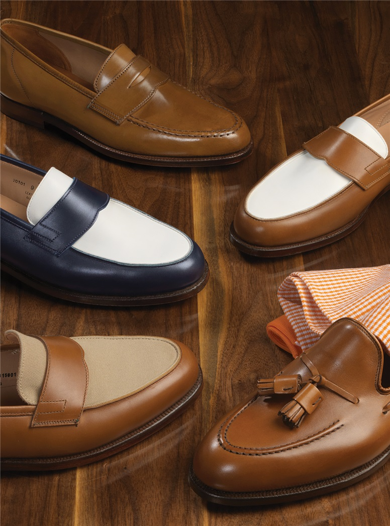 The Crewe Loafer in Tan and White Calfskin