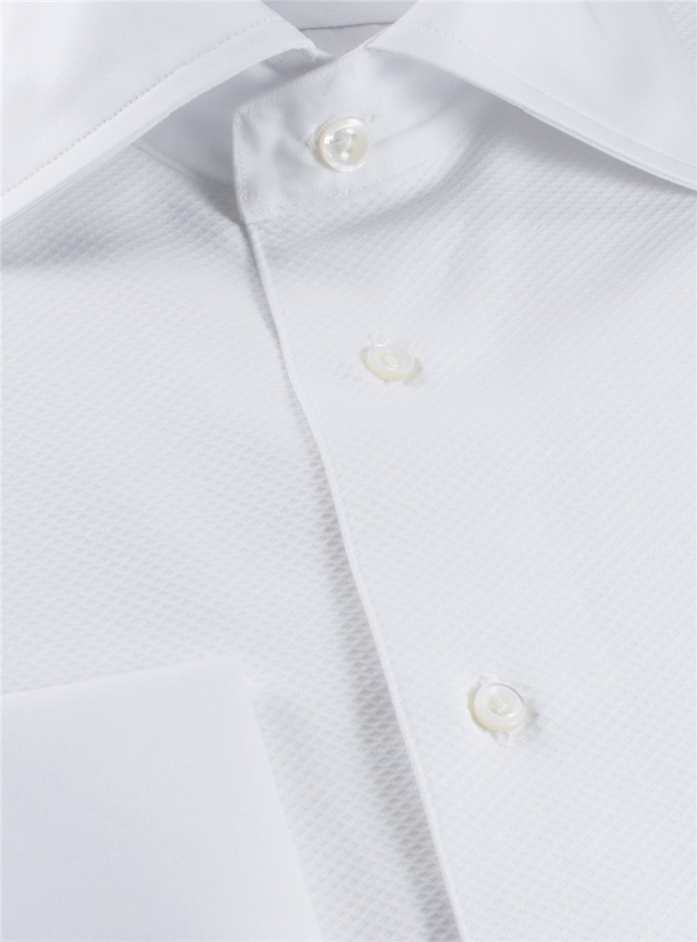 White Cotton Evening Shirt with Pique Front