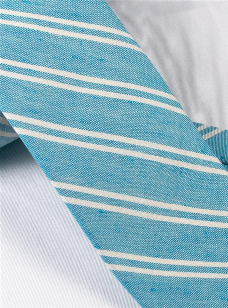 Linen and Cotton Double Stripe Tie in Aqua