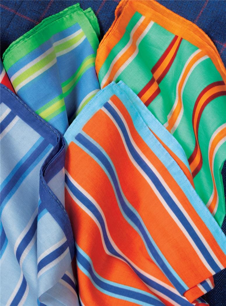 Cotton Stripe Pocket Squares
