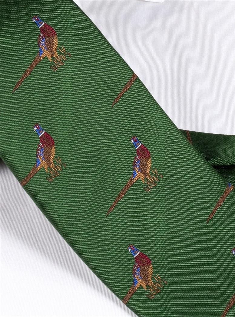 Jacquard Woven Pheasant Motif Tie in Fern